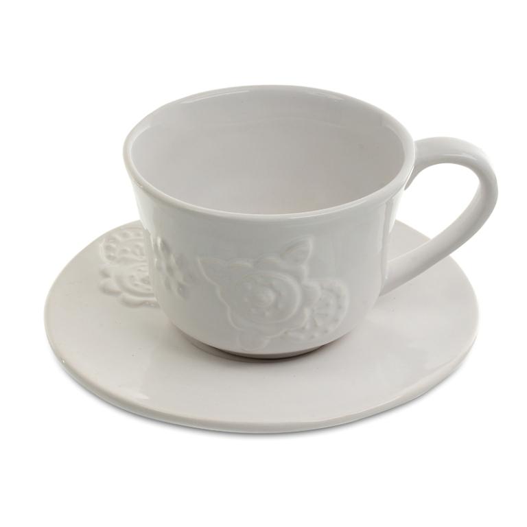 Чашка с блюдцем (отгружается по 4 шт.) 15*15*7 см DE08-0003
