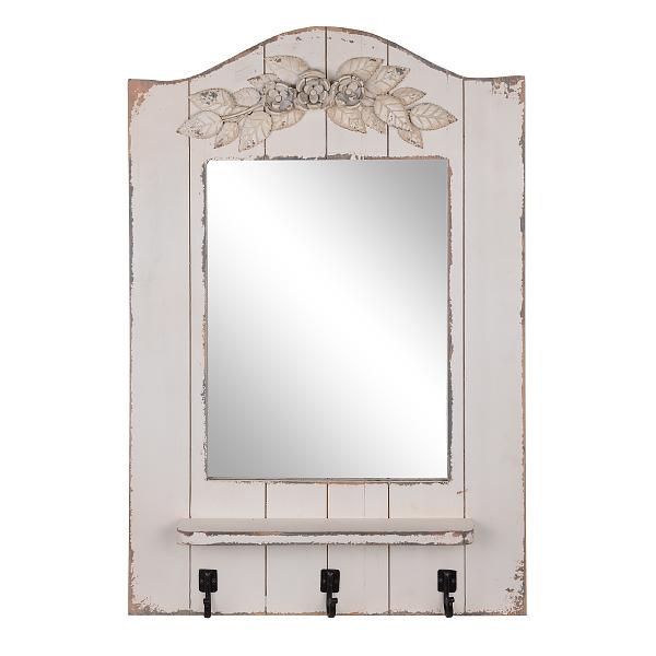 Зеркало вешалка с крючками Античное белое QXA021-1201