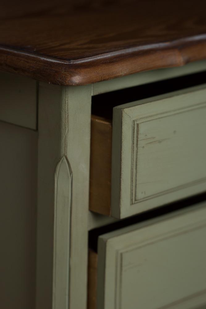 Высокий комод с 6-ю ящиками зеленый