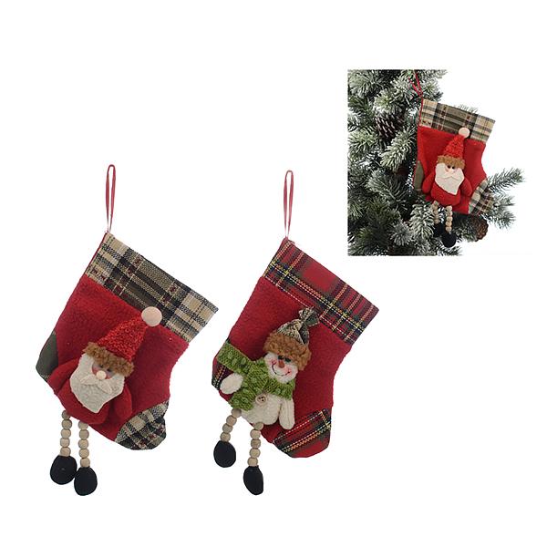 Новогодняя Подвеска-Носочек Дед Мороз и Снеговичок от 2-х шт.