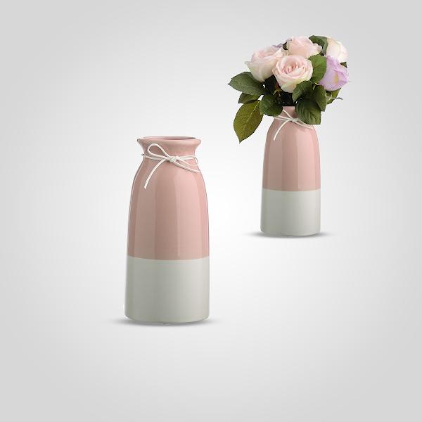 Керамическая Ваза-Бутылка Двухцветная Розовый/Белый Малая