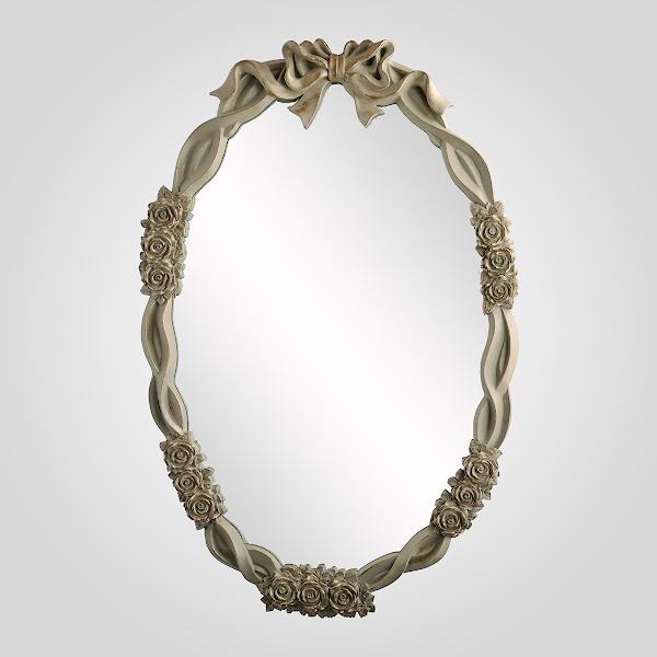 Зеркало Овальное с Бантом Плетеное (Полистоун)