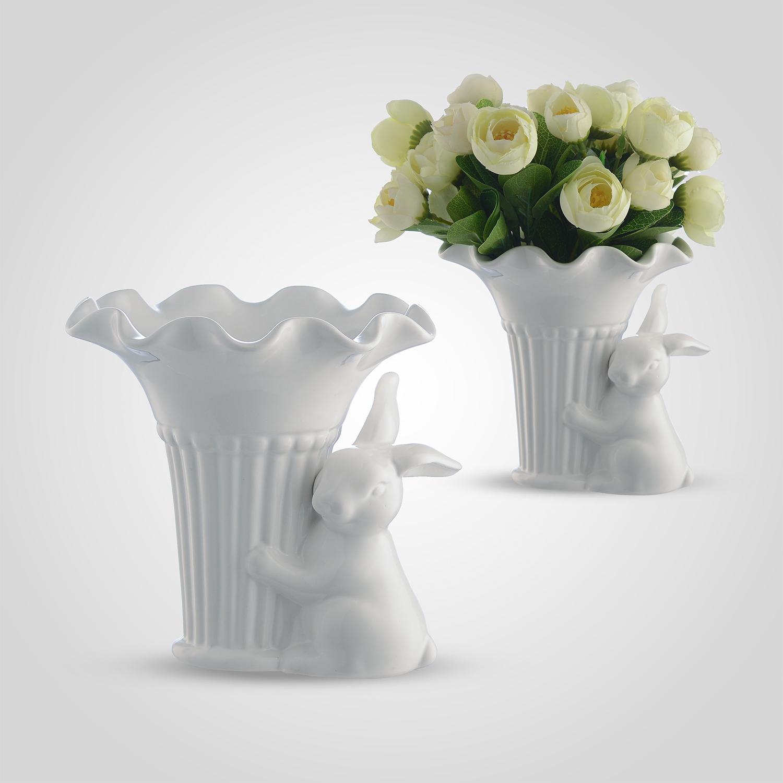 Ваза Керамическая Белая с Кроликом-Милашкой