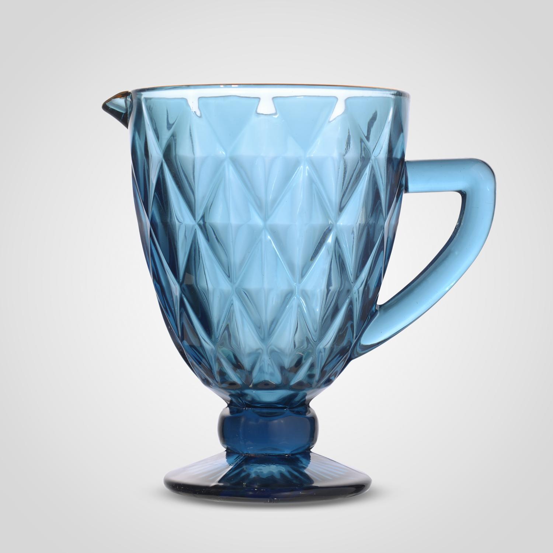 Кувшин Стеклянный Синий с Золотистой Каймой