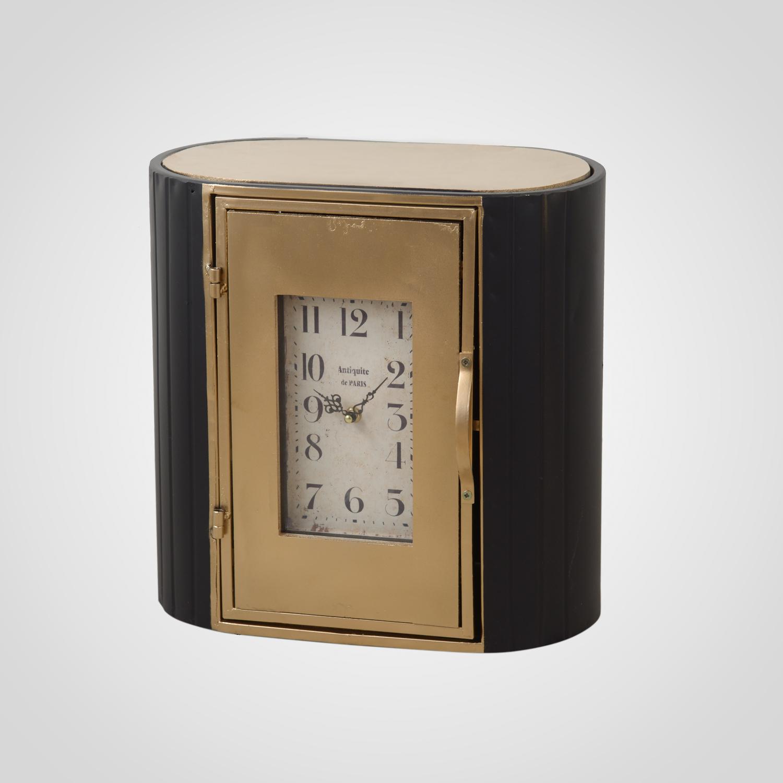 Часы - шкафчик черный с золотистым 40х40х22 MU13B-F028L3