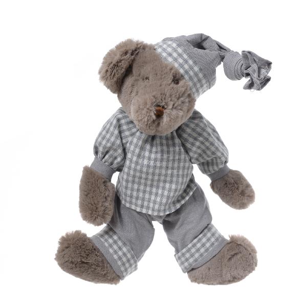 Медвежонок мальчик плюшевый в пижаме в клетку 35см FT1335005
