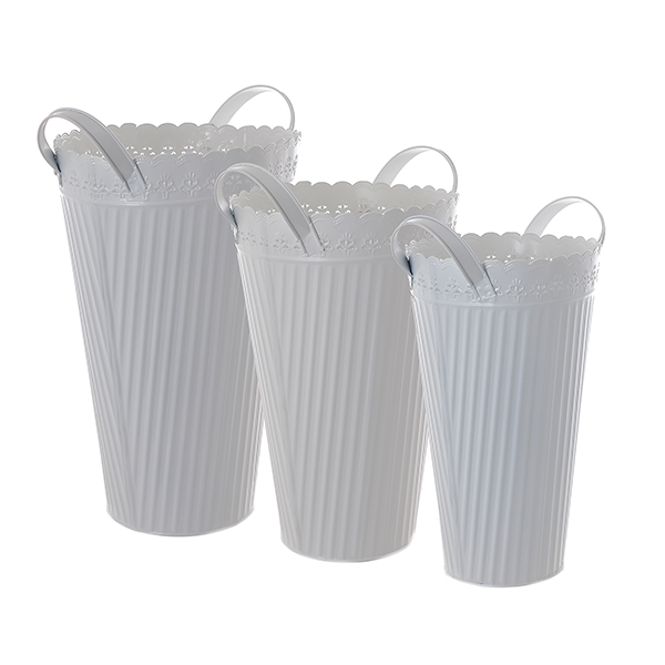 Набор металлических ваз Белый цветок 58943