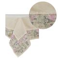 Скатерть бежевая с двойным кружевом розовый Paris,лен (150х180) 0399-5/150х180
