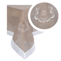 Скатерть темный лен с вышивкой 150х150 2589-105M(150x150)