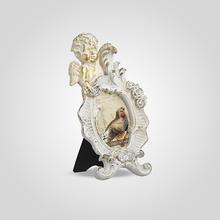 Фоторамка Ретро с Ангелочком Малая (Белый+Золотистый)