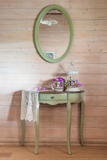 Овальная консоль, зеленая с ящиком (без зеркала)