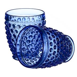 Стакан для воды яркий синий Стеклянный горошек (набор 6шт)