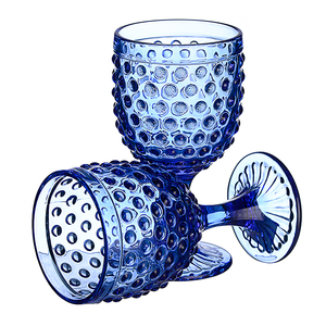 Бокал для вина яркий синий Стеклянный горошек