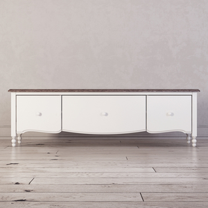 Тумба под ТВ с 3-я ящиками широкая Leblanc, белая