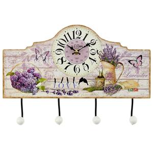 Часы настенные деревянные с вешалкой - кварцевый механизм 3-20-098-0212