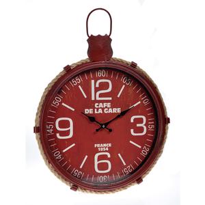 Часы настенные красные металлические