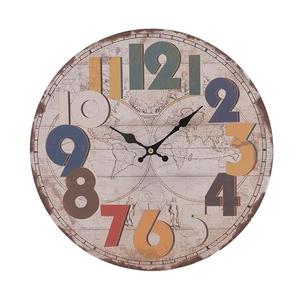 Круглые настенные часы с цветными цифрами 34см - кварцевый механизм 3-20-977-0196
