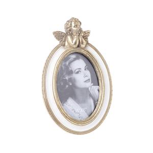 Фоторамка овальная золотая с ангелом 3-30-117-0217