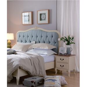 Кровать бежевая с мягким изголовьем голубого цвета GW111S Leontina