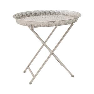 Стол-поднос металлический серебрянный