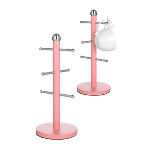 Металлическая Подставка для Чашек Темно-Розовая