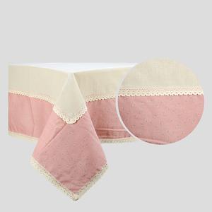Скатерть бежевая с двойным кружевом Розовый прованс, лен (140х140)