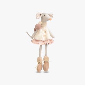 Новогодняя Сидячая Мышка в Шарфике 48 см.