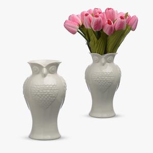 Ваза-Сова Керамическая Белая Малая
