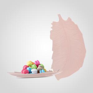 Блюдо-Перо Керамическое Розовое Малое