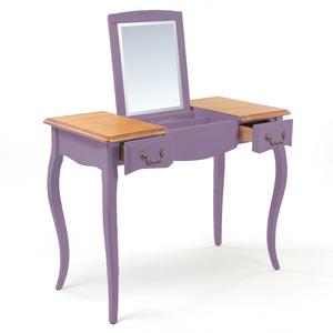 Макияжный столик с зеркалом Leontina, лавандового цвета со складным зеркалом