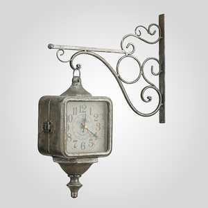 Часы Металлические на Кронштейне Старинные Серебристые