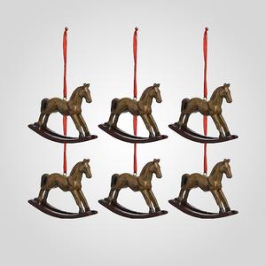 Елочная Новогодняя Подвеска-Лошадка (Полистоун, набор 6 штук)