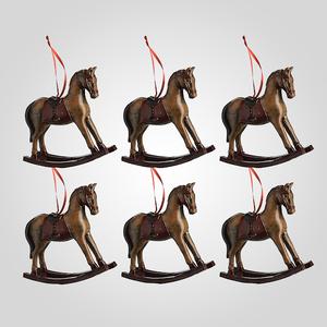 Новогодняя Елочная Подвеска-Лошадка (Полистоун, набор 6 штук)