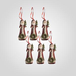 Елочная Подвеска-Дед Мороз (Полистоун, набор 6 штук)