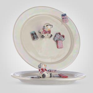 Тарелка Керамическая Снеговичок с Подарками 28 см