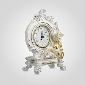 Часы Настольные Ретро с Ангелочками (Полистоун, Белый+Золотистый)