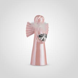 Ангел Керамический Декоративный Розовый в Перьях (2шт)