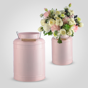 Металлическая Ваза-Бидон Розовая Малая