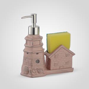 Керамический Диспенсер-Домик для Мыла/Жидкости для Мытья Посуды Розовый