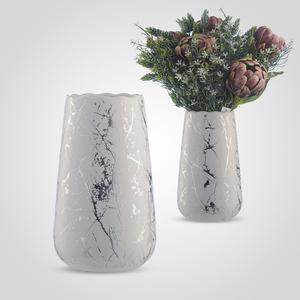 Ваза Керамическая Белая с Серебристой Патиной M