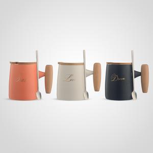 Набор кружек из Матовой Керамики с Деревянной Крышкой и Ручкой (3шт)