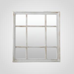 Белое Квадратное Зеркало-Окно с Патиной (Полимер)