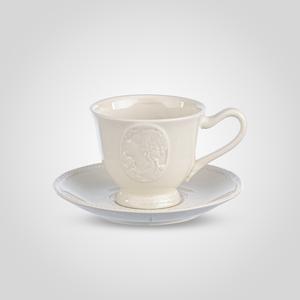 Чашка с Блюдцем Белый Фарфор