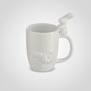 Кружка Подарочная Белая с Кроликом на Ручке (Керамика)