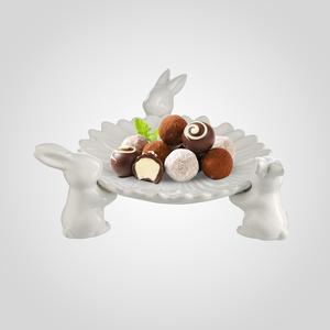 Конфетница-Цветок с Тремя Кроликами (Керамика)