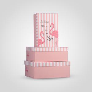 Набор из Трех Прямоугольных Розовых Подарочных Коробок