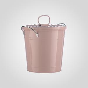 Кашпо-Ведерко с Крышкой Металлическое Розовое Большое