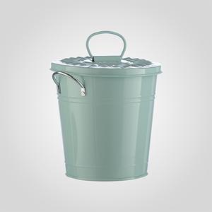 Кашпо-Ведерко с Крышкой Металлическое Голубое Большое