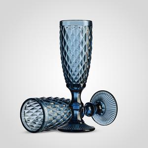Набор стеклянных синих бокалов для Шампанского