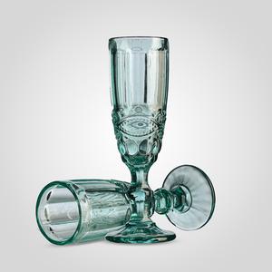 Набор бирюзовых стеклянных бокалов для шампанского